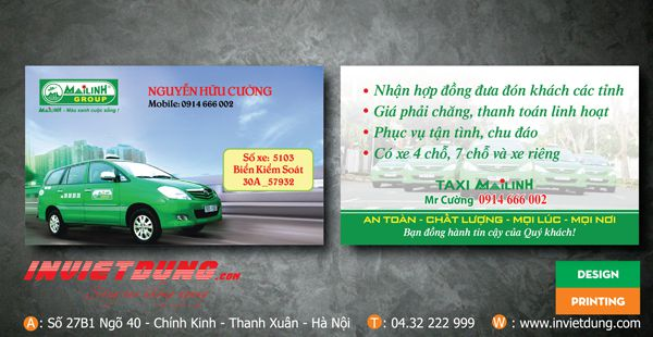 card visit taxi 7 chỗ