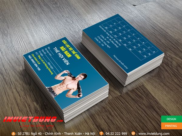 thiết kế name card phòng gym, fitness